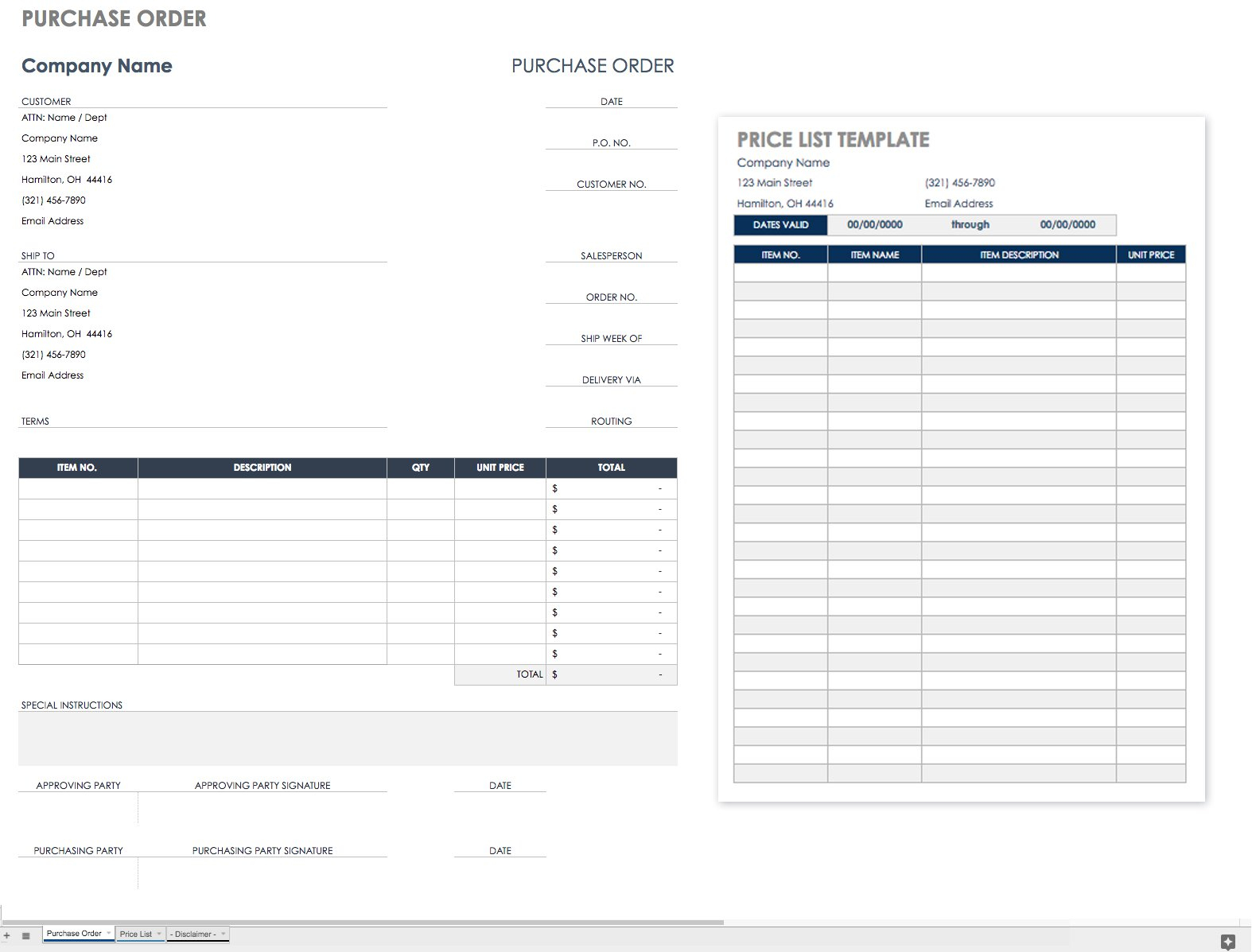 Free Purchase Order Templates Smartsheet regarding measurements 1574 X 1197