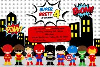 Free Superhero Birthday Party Invitation Templates Birthday Party with regard to proportions 1600 X 1143