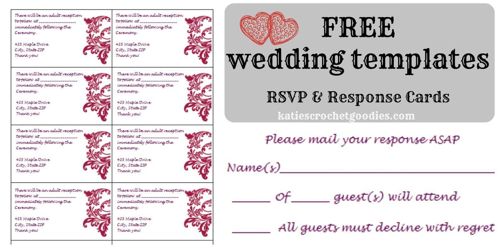 Free Wedding Rsvp Response Card Template Templat Wedding intended for proportions 1600 X 798