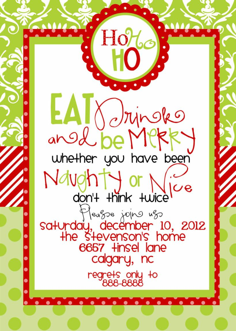 Funny Christmas Party Invitations Wording Christmas Party throughout measurements 820 X 1148