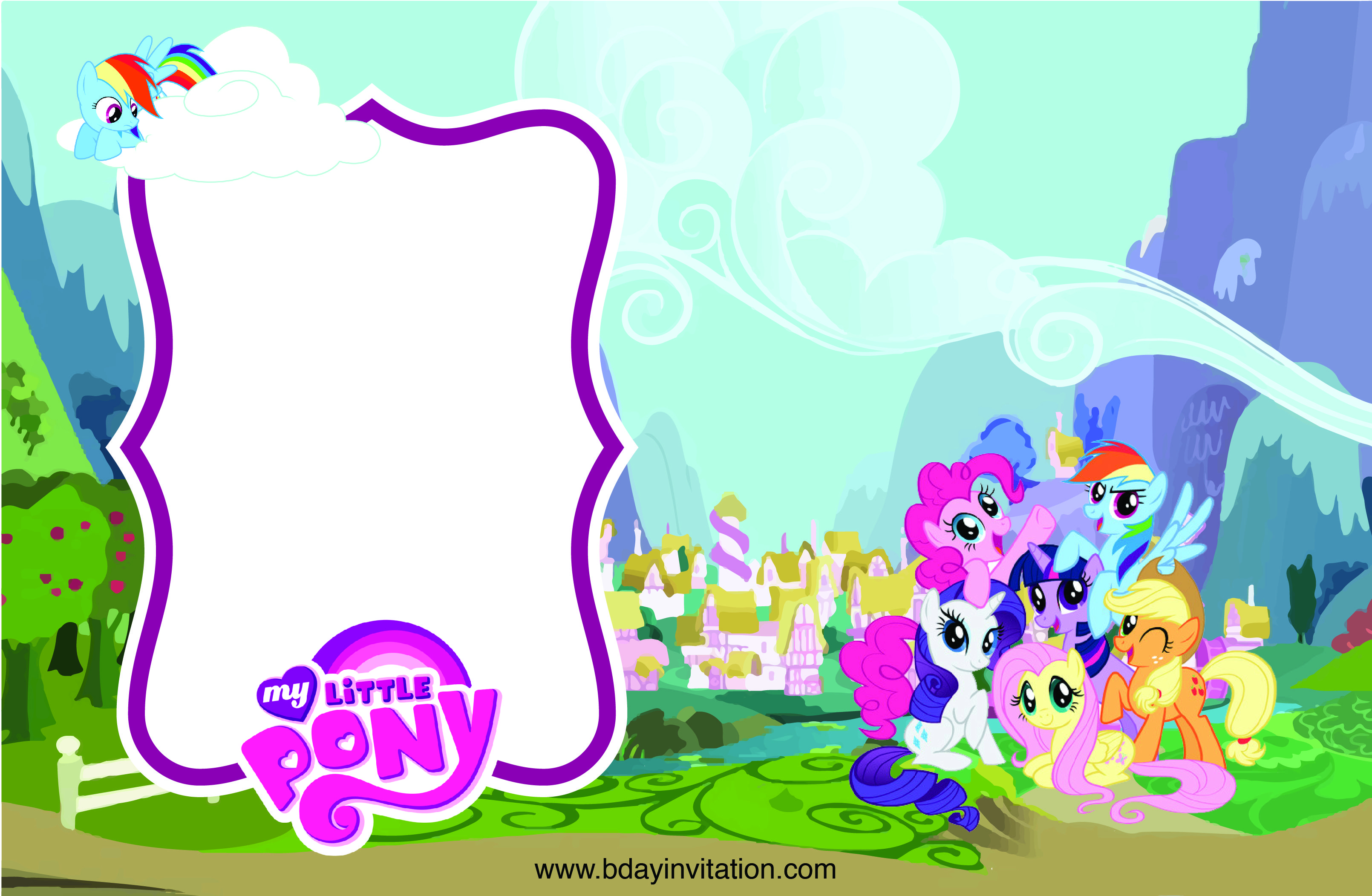 Get Free Printable My Little Pony Birthday Invitation Template with regard to dimensions 3220 X 2103