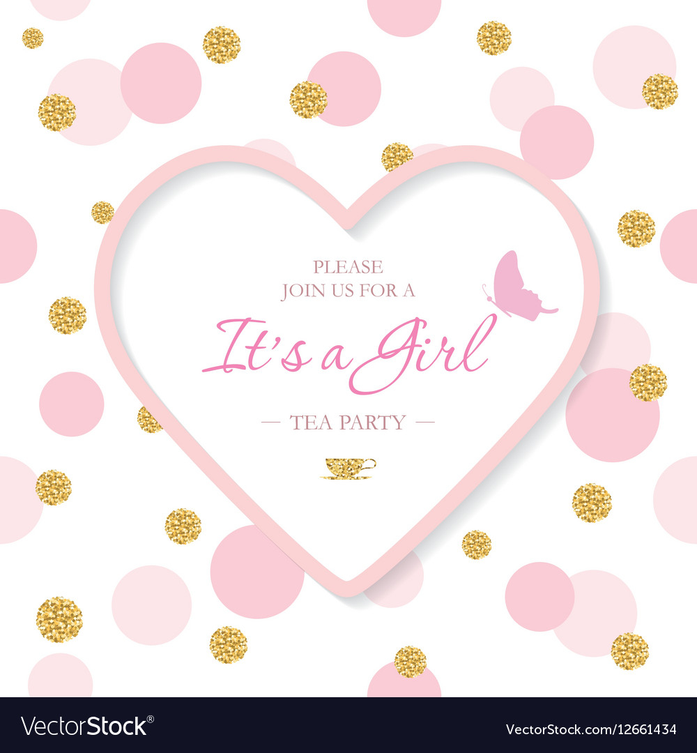 Girl Ba Shower Invitation Template Included Vector Image with proportions 1000 X 1080