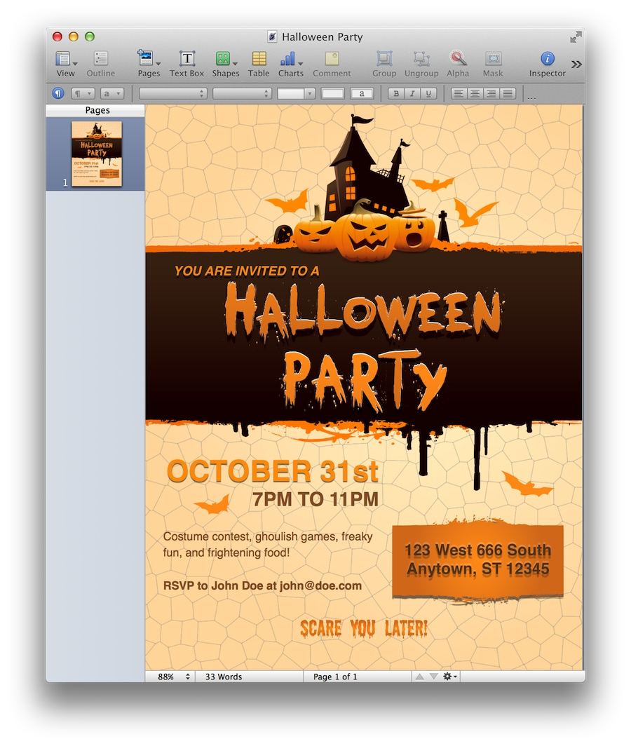 Halloween Party Invitation For Pages Mactemplates regarding size 900 X 1064