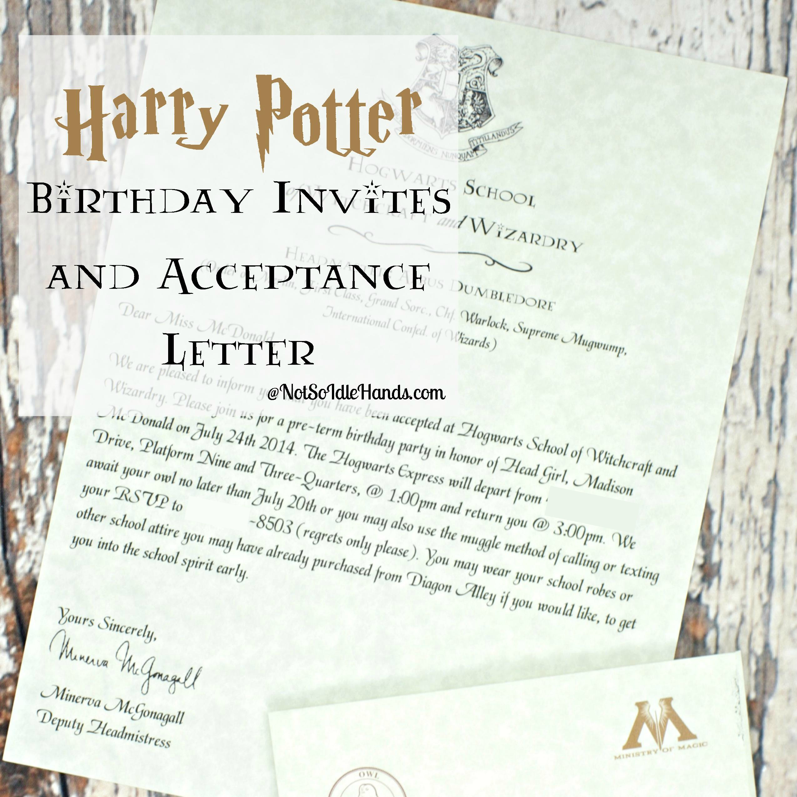 Harry Potter Birthday Invitations And Authentic Acceptance Letter regarding size 2550 X 2550