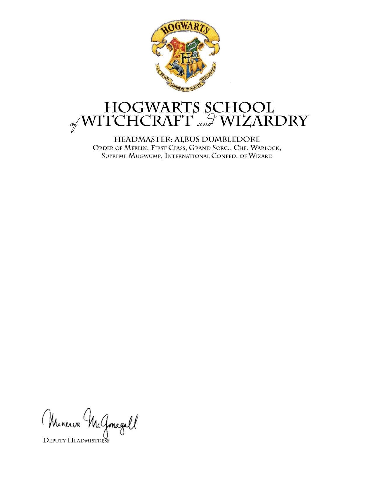 harry potter letter template  Invitation To Hogwarts Template • Business Template Ideas