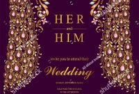 Indian Wedding Invitation Card Templates With Gold Peacock Patterned with proportions 1059 X 1600