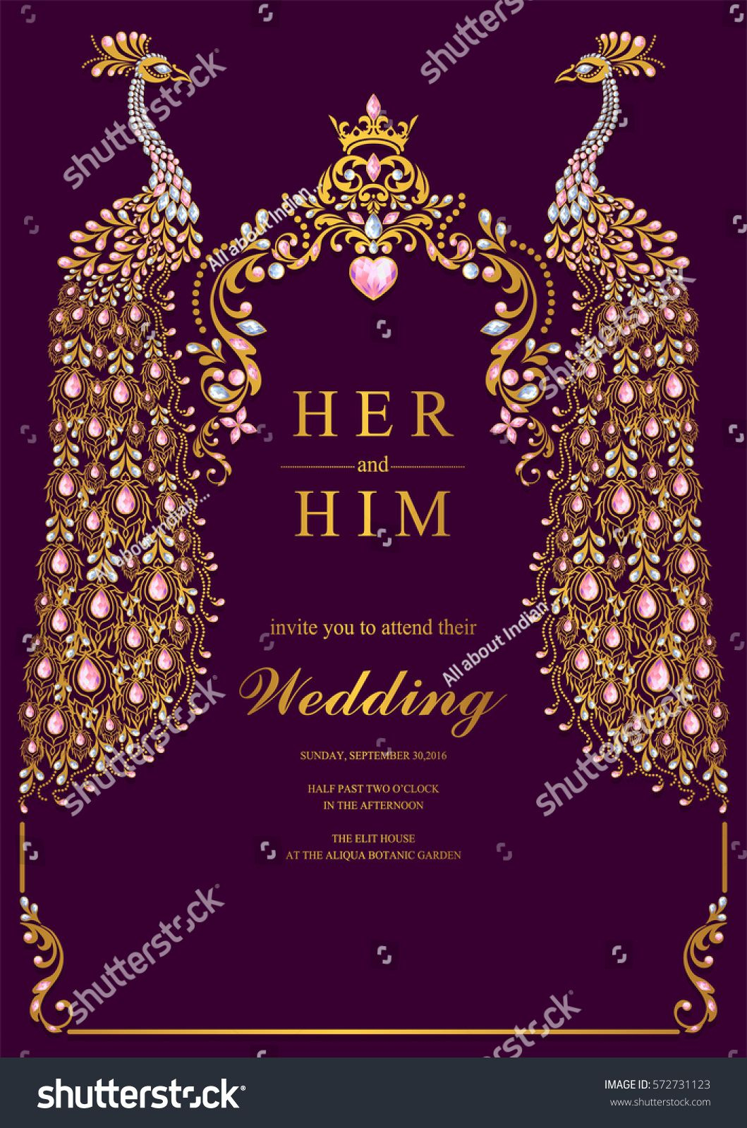 Indian Wedding Invitation Card Templates With Gold Peacock Patterned with regard to proportions 1059 X 1600