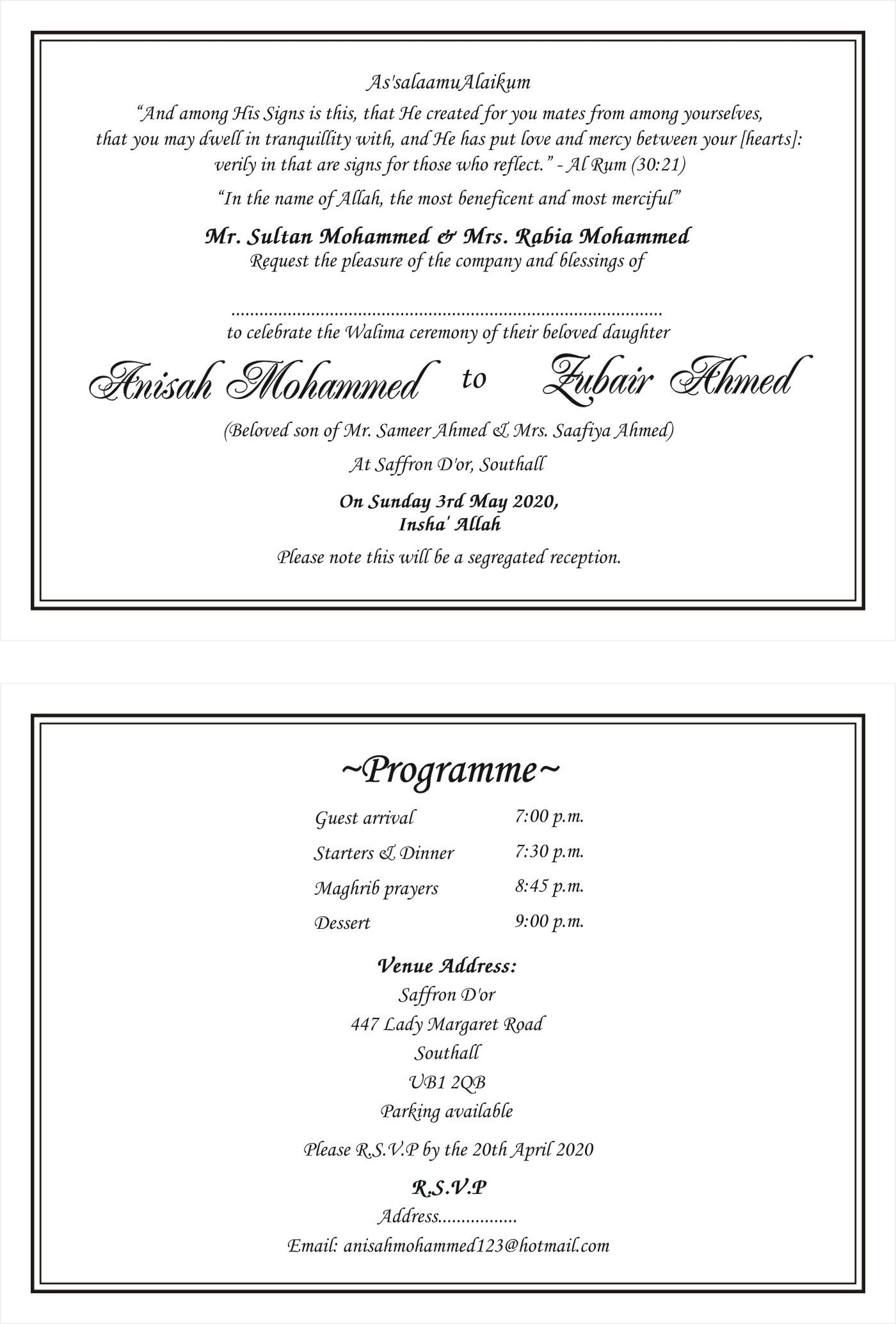 Islamic Muslim Invitation Cards Wordings Traditional Muslim pertaining to proportions 1400 X 2067