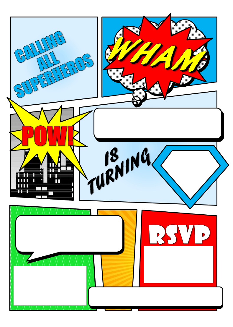 Make Your Own Comic Book Printable Superhero Comic Book Party inside dimensions 790 X 1106