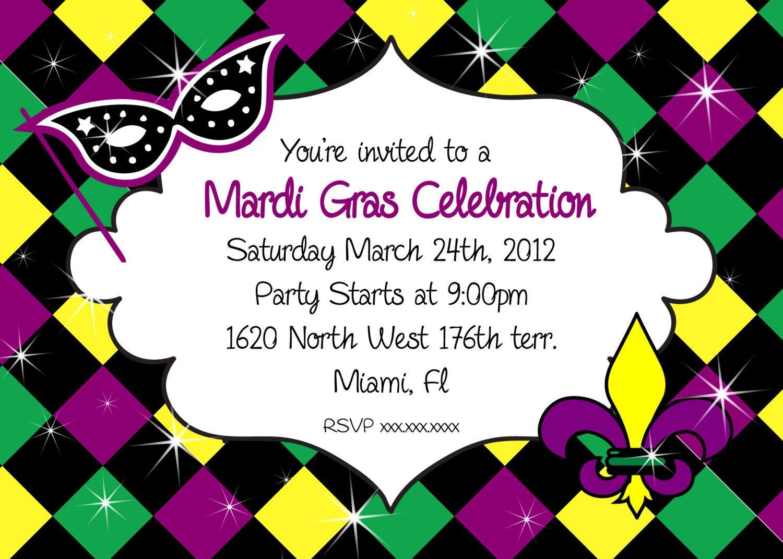 Mardi Gras Party Invitations Cloudinvitation Mardi Gras with regard to proportions 1500 X 1071
