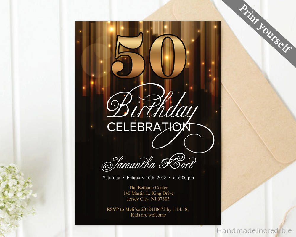 Modern Gold And Black 50th Birthday Invitation Template 30th 40th with regard to sizing 1000 X 800