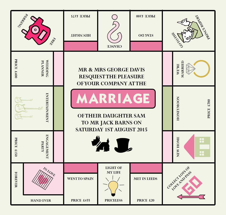 Monopoly Wedding Invitation Designed Me At Nics Designs regarding proportions 1475 X 1400