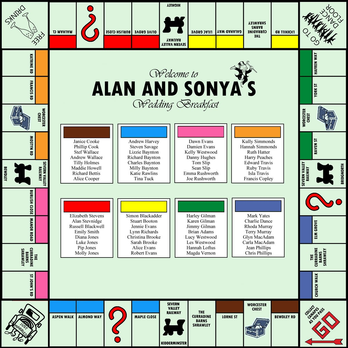 Monopoly Wedding Table Plan intended for dimensions 1200 X 1200