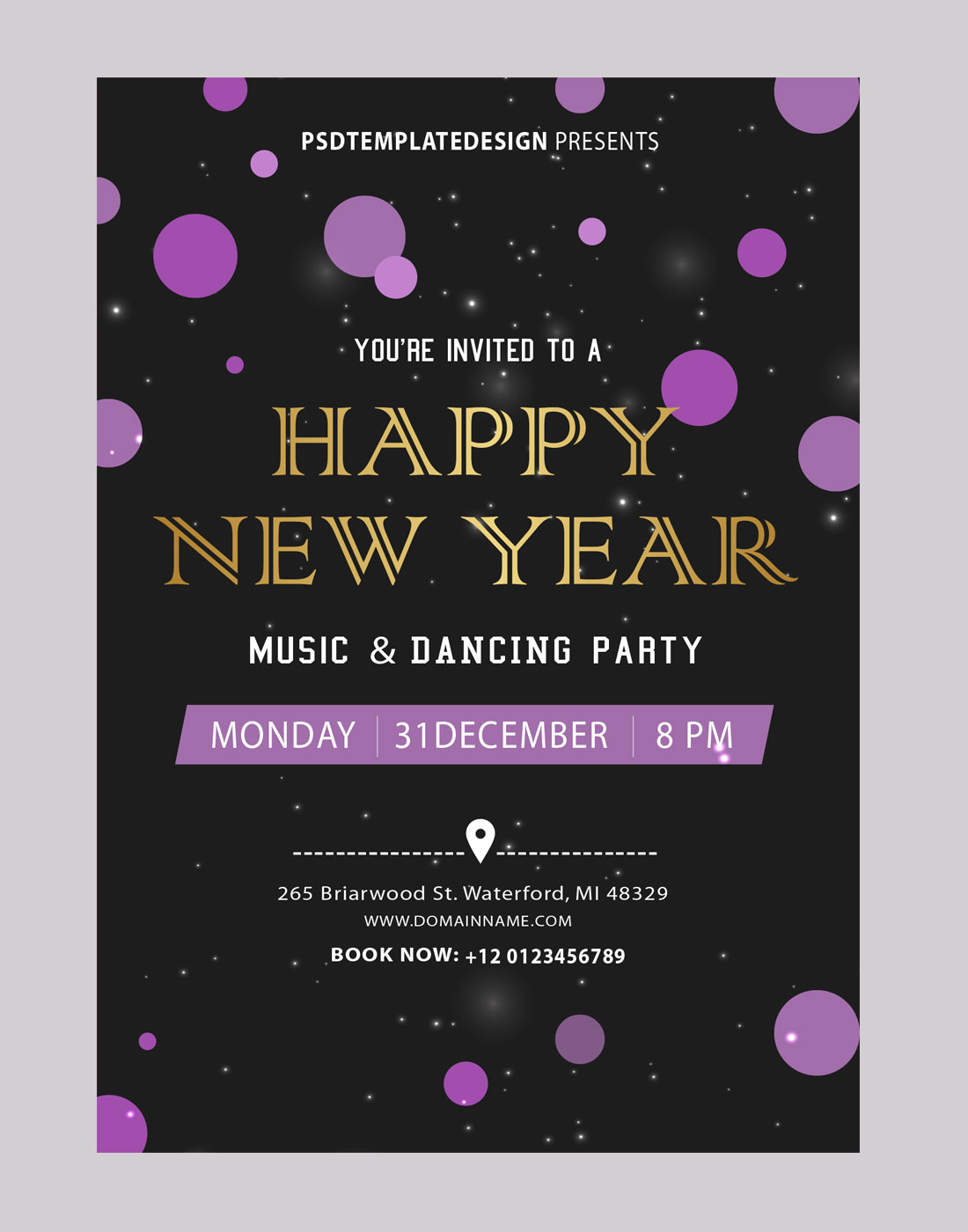 New Year Party Invitations Card Template in proportions 1100 X 1400