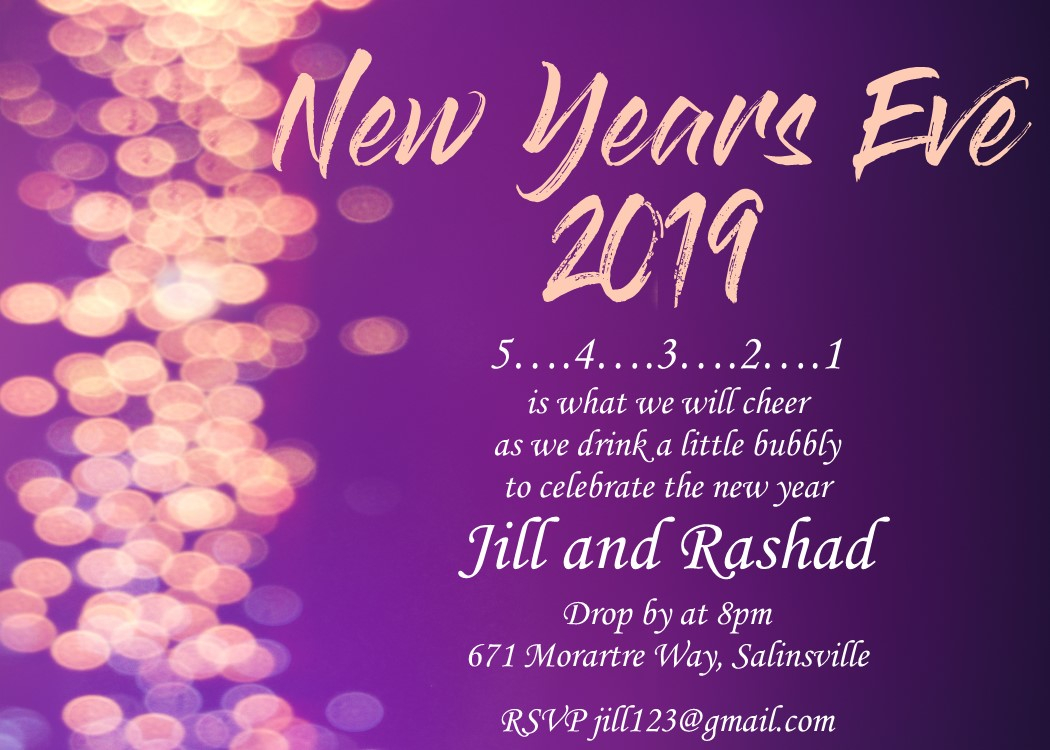 New Years Eve Party Invitations 2019 regarding proportions 1050 X 750