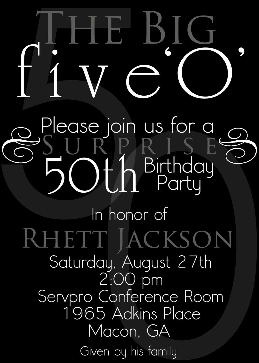 Nice The 50th Birthday Invitation Template Free Templates with sizing 1071 X 1500