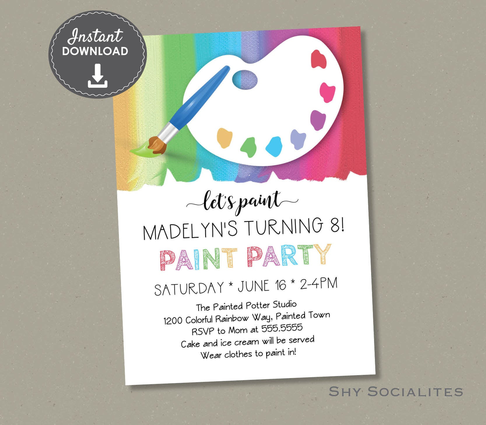 Paint Party Invitation Art Party Pottery Painting Birthday Etsy pertaining to size 1667 X 1458