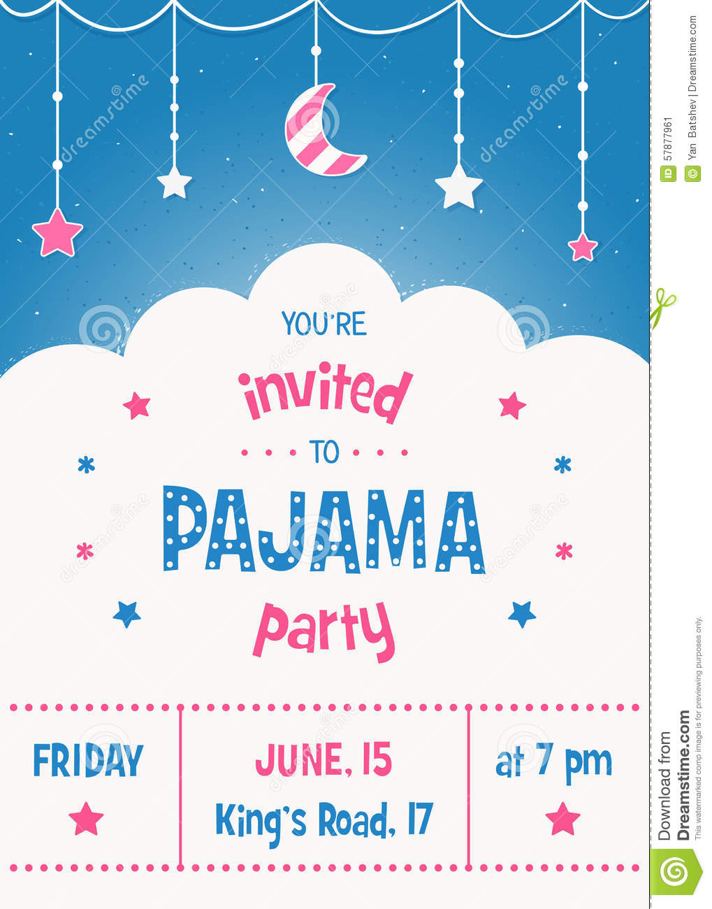 Pajama Party Invitation Card Template With Stars Moon And Clouds regarding sizing 1019 X 1300