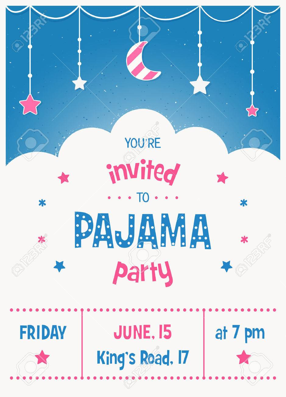 Pajama Sleepover Kids Party Invitation Card Or Poster Template in sizing 939 X 1300