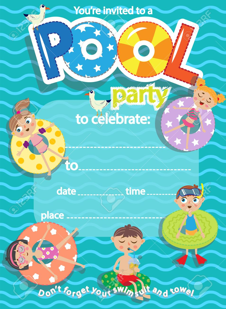 Pool Party Invitation Template Card Kids Fun In Pool Royalty Free for size 953 X 1300