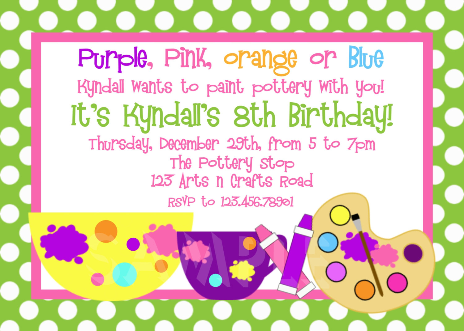 Printable Birthday Invitations Girls Pottery Painting Party in size 1500 X 1071