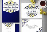 Printable Cobalt Blue Yellow Wedding Invitation Templates Etsy with regard to measurements 1008 X 864
