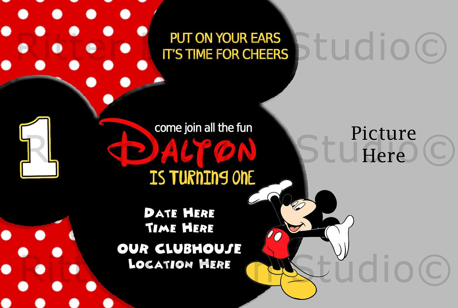Printable Mickey Mouse Invitations Template Charles 1st Bday In inside size 1500 X 1010