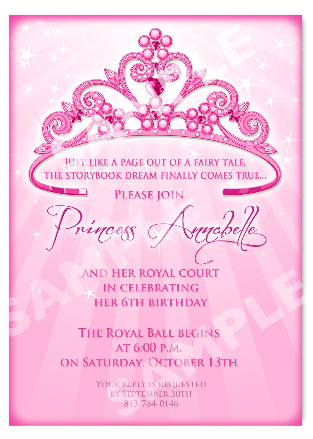 Printable Princess Invitation Cards Birthday Party Ideas inside proportions 1071 X 1500