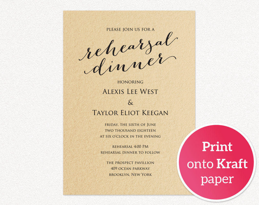 Rehearsal Dinner Invitation Template Wedding Templates And Printables throughout size 1011 X 800