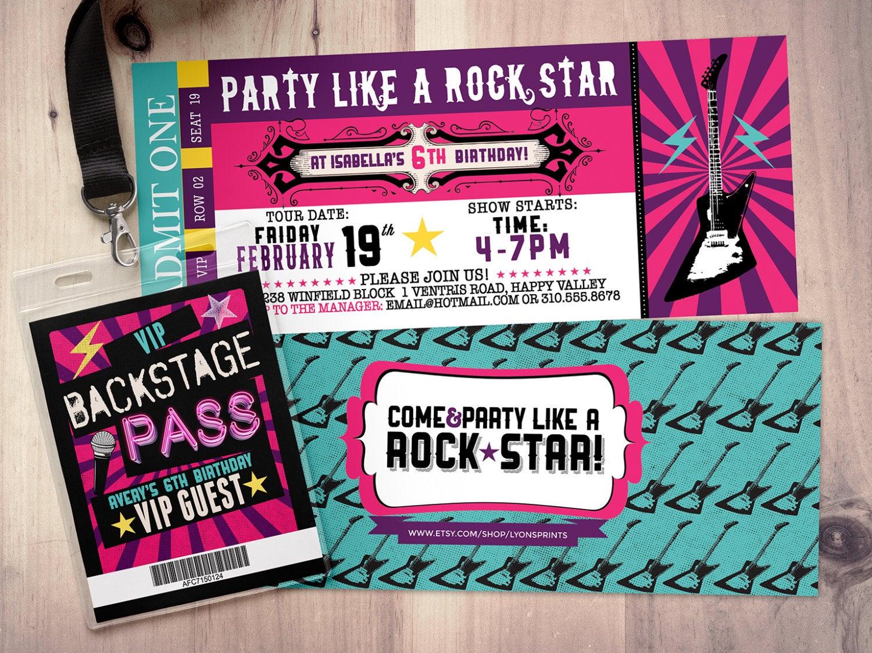 Rock Star Concert Ticket Birthday Party Invitation Music Invitation regarding dimensions 1500 X 1125