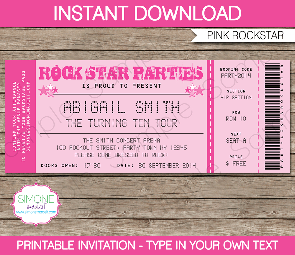 Rockstar Birthday Party Ticket Invitations Template Pink inside dimensions 1000 X 865