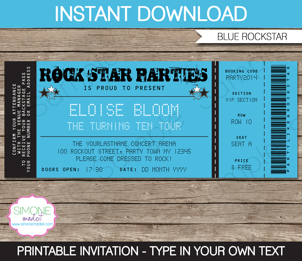 Rockstar Party Ticket Invitation Template Blue Birthday intended for proportions 1000 X 866