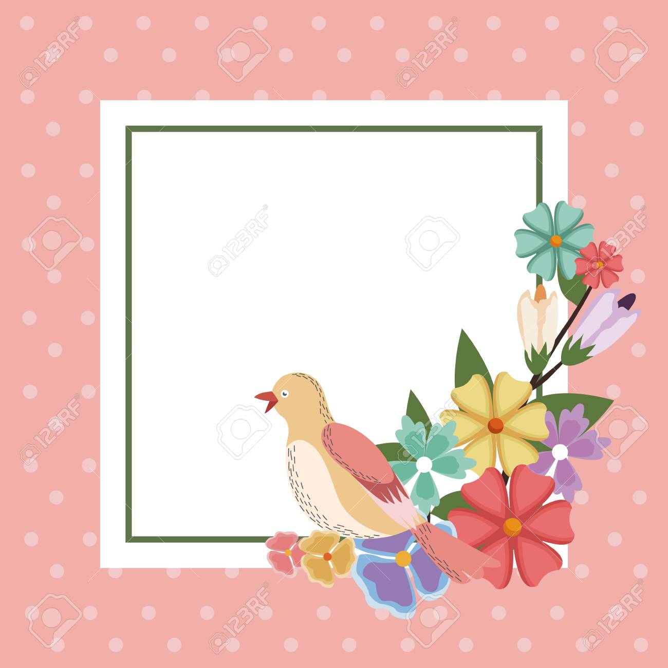 Spring Card Bird Flower Frame Decoration Invitation Template within dimensions 1300 X 1300