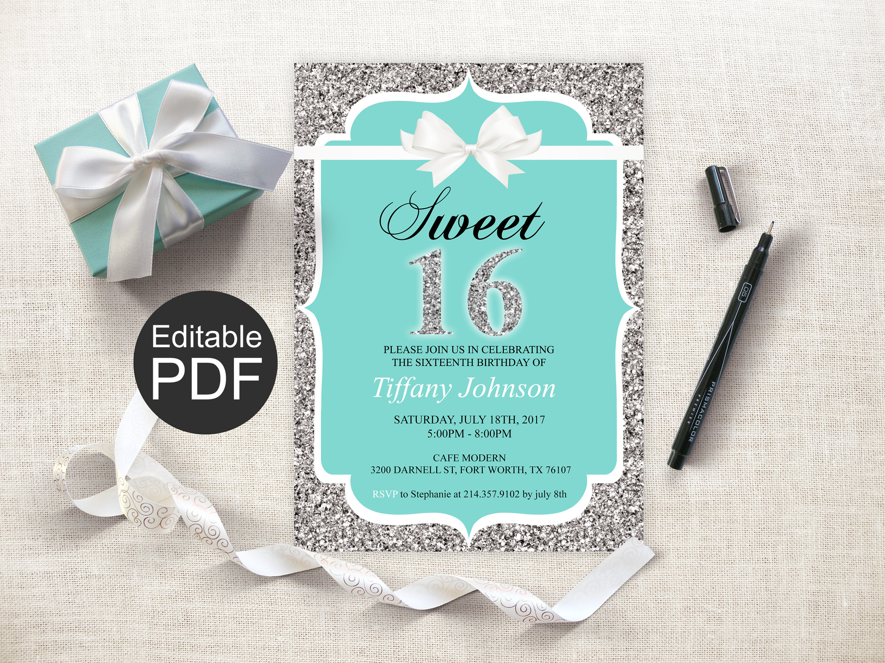 It is a picture of Printable Sweet 16 Invitations in white