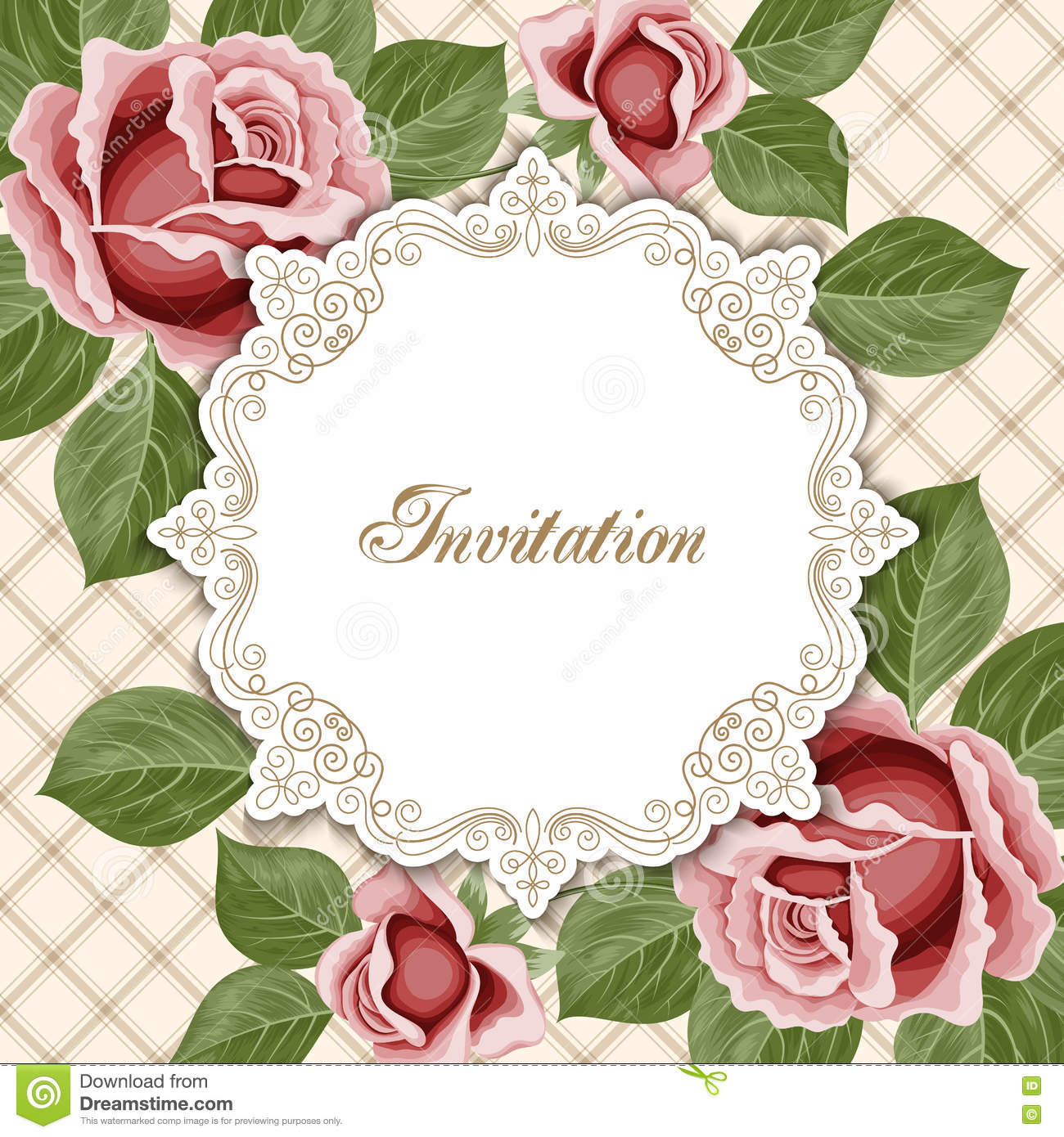 Vintage Floral Invitation Template Stock Vector Illustration Of for size 1300 X 1390