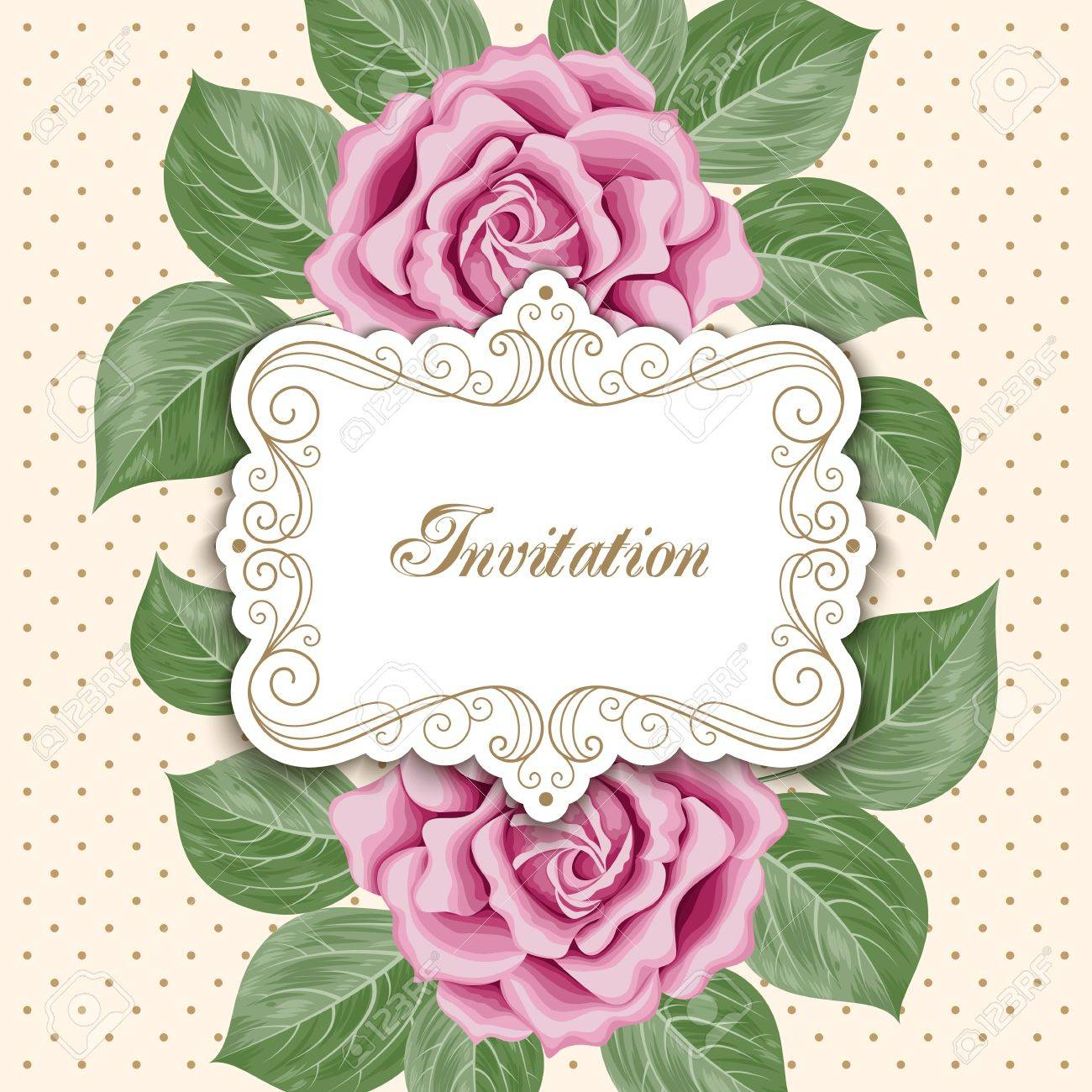 Vintage Floral Invitation Template With Hand Drawn Flowers Royalty inside proportions 1300 X 1300