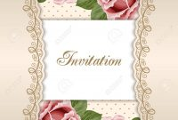 Vintage Floral Invitation Template With Hand Drawn Flowers Royalty intended for proportions 1300 X 1300
