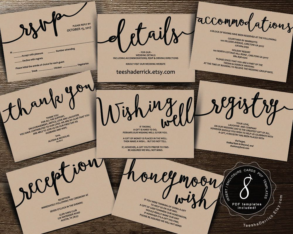 Wedding Insert Cards Pdf Template Instant Download Enclosure Card pertaining to proportions 1000 X 800