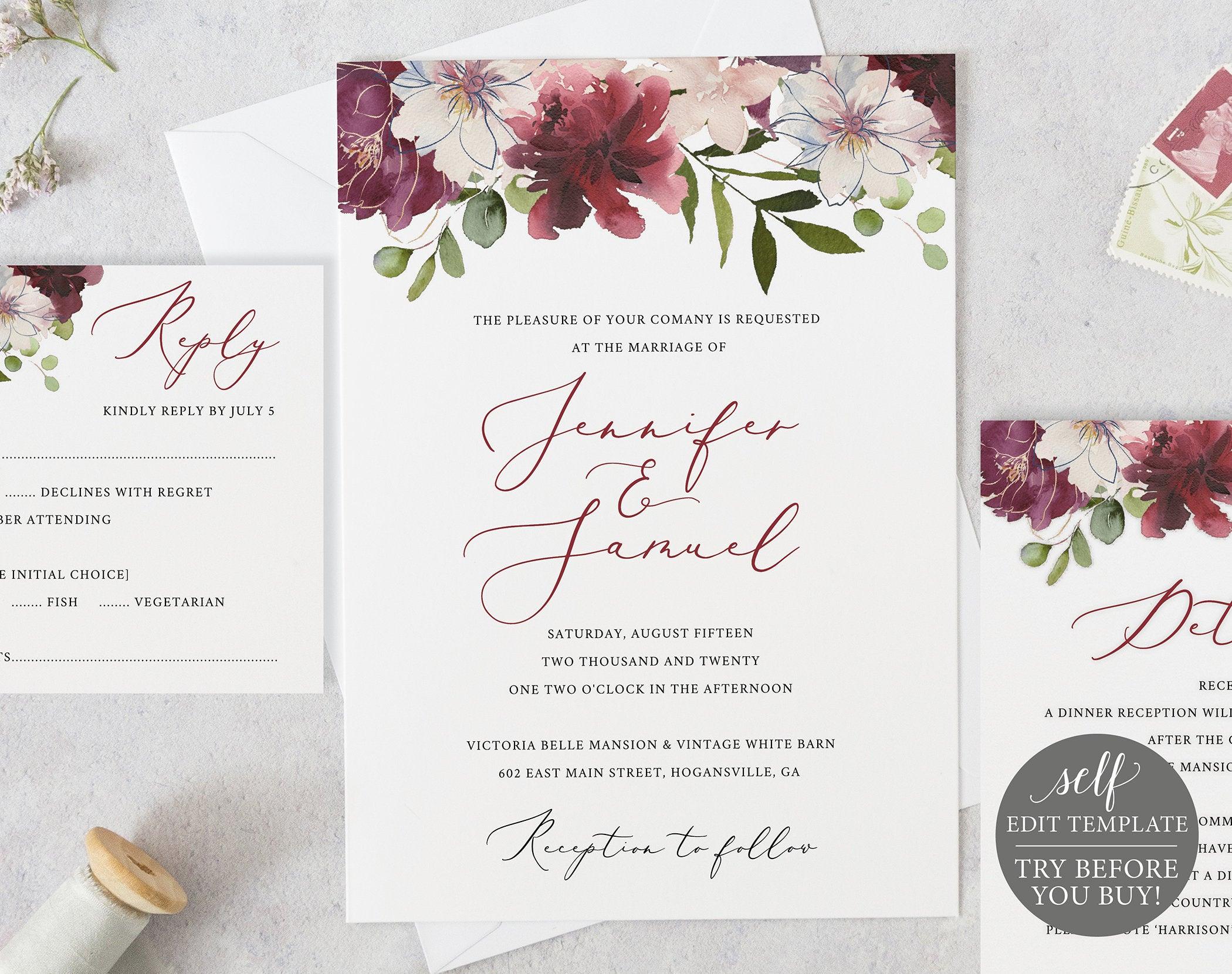 wedding invitation editable templates • business template