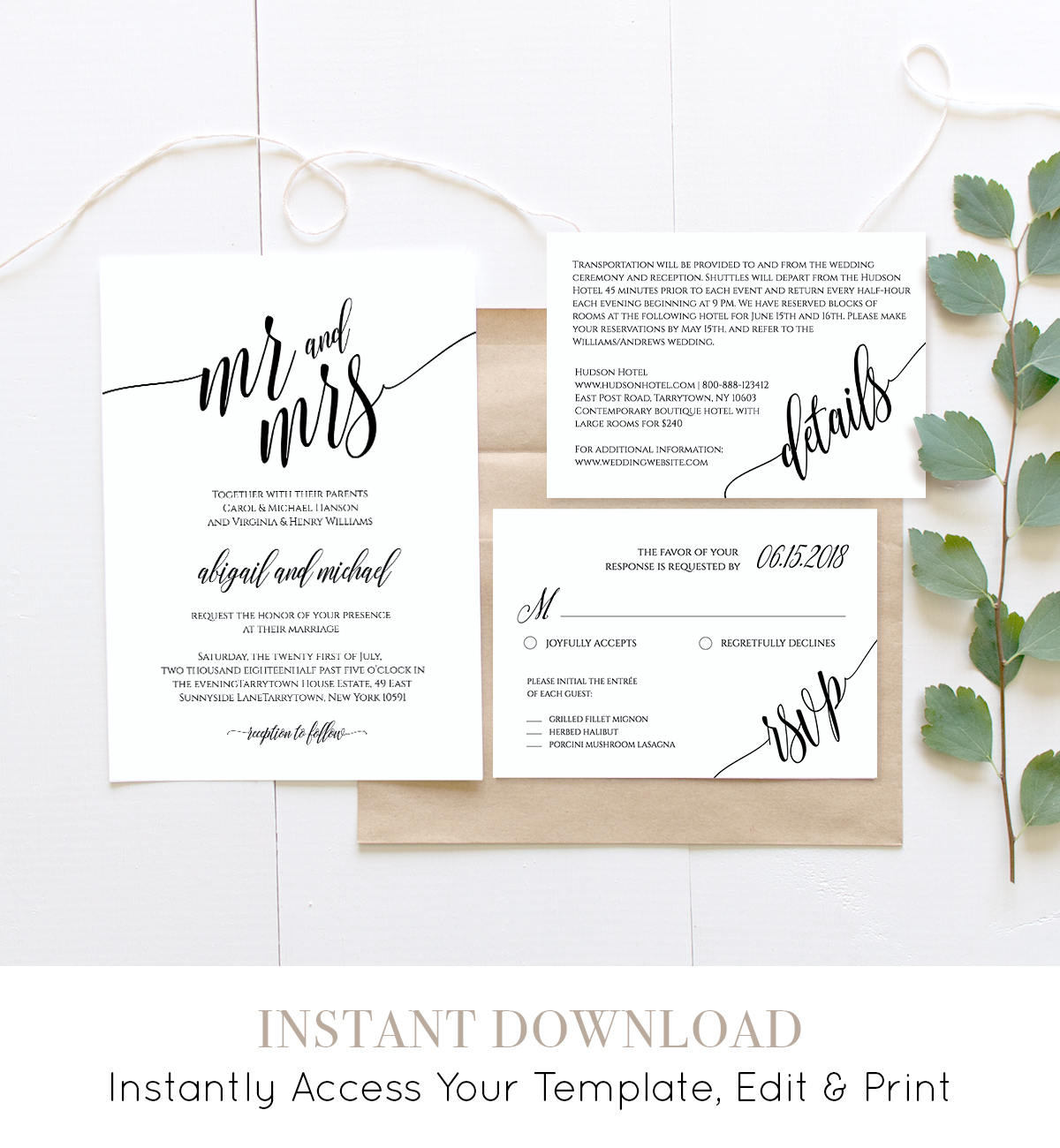 Wedding Invitation Template Instant Download Rustic Modern regarding dimensions 1200 X 1300