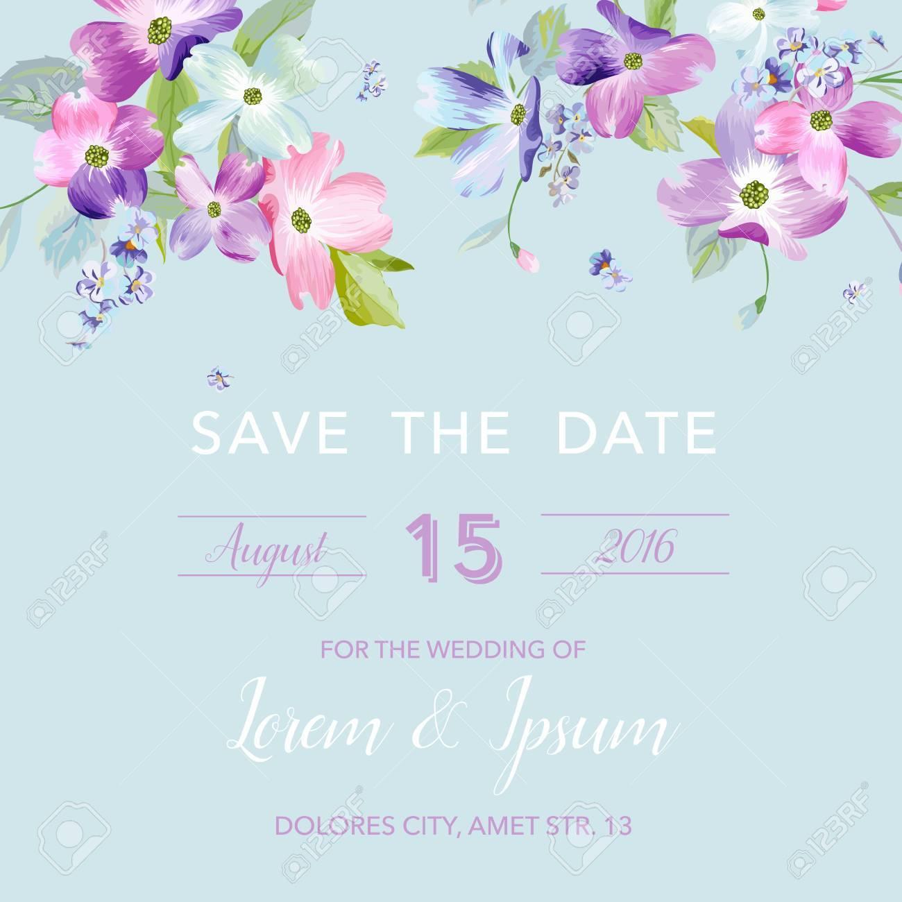 Wedding Invitation Template With Spring Dogwood Flowers Romantic regarding size 1300 X 1300