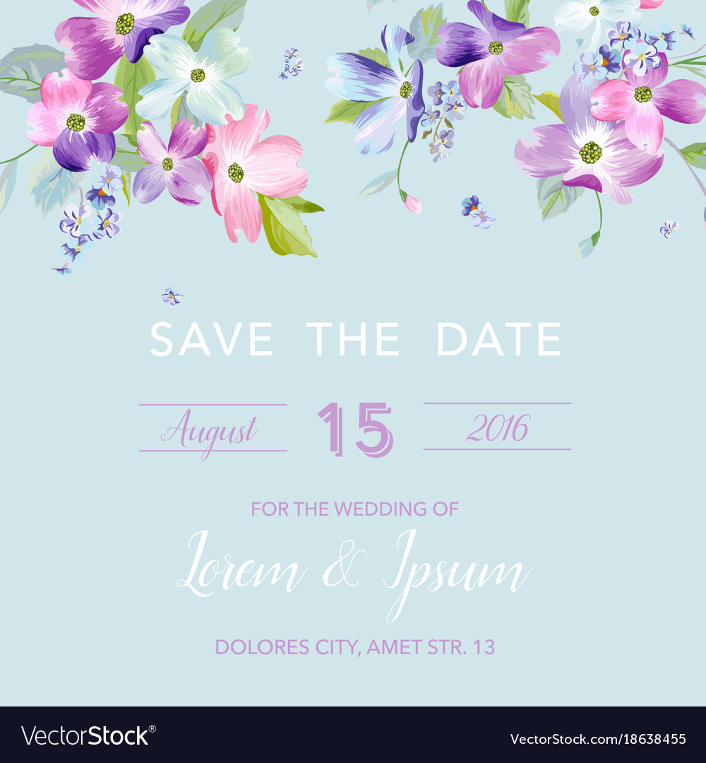 Wedding Invitation Template With Spring Flowers Vector Image On Vectorstock within proportions 1000 X 1080