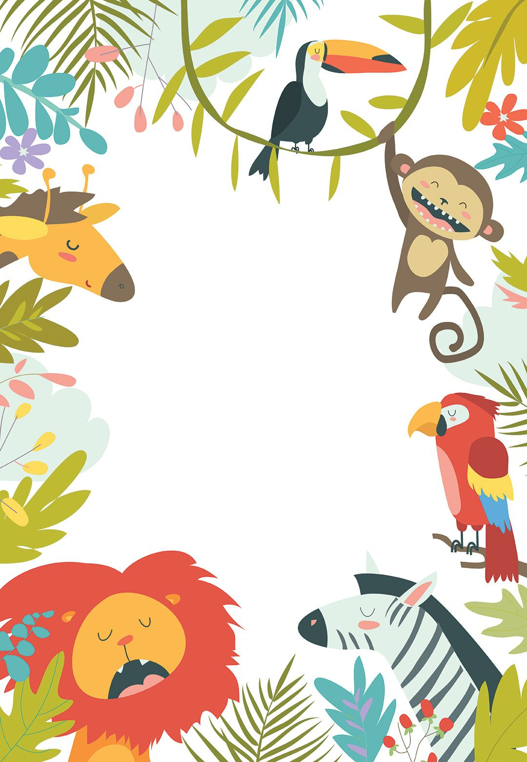 Wild Animals Birthday Invitation Template Free In 2019 Whoot with measurements 1080 X 1560