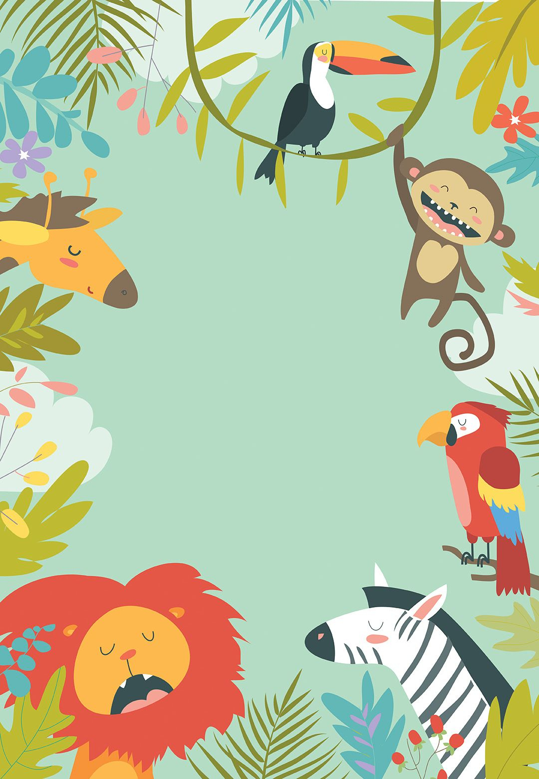 Wild Animals Free Birthday Invitation Template Greetings Island for dimensions 1080 X 1560